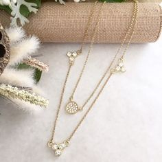 """Take20%offRhinestones Circle Layering Necklace Shiny faux gold-plated NWOT, comes to you in dust bag 17"""" + 19 approx. lengths + 2"""" extender Lobster clasp Clear sparkling circles crystals.                                                 Price Firm Jewelry Necklaces"""