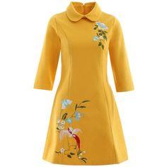 A Line Pocket Bowknot Bird Embroidery Woolen Swing Dress - Deep Yellow - 2500157012 Size Bird Embroidery, Embroidery Dress, Robe Swing, Swing Dress, Short A Line Dress, Short Dresses, Rockabilly, Tent Dress, Wool Dress