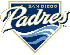 San Diego Padres Primary Logo (2004) - Padres in white and sand above waves on a navy home plate