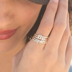 Personalized Stacking initial letter Custom Ring- Stackable Bridesmaid Mom Jewelry Gift for her- Gol Name Jewelry, Boho Jewelry, Custom Jewelry, Jewelry Gifts, Sister Jewelry, Perfect Gift For Mom, Gifts For Mom, Hands With Rings, Stackable Bracelets