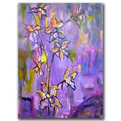 'Purple Orchids' by Wendra Painting Print on Canvas