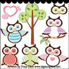 Spring Owls Clip Art - Original Artwork by Trina Clark