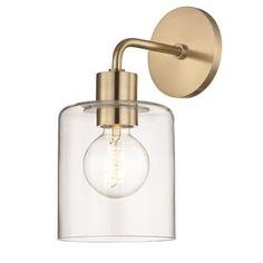 Mitzi by Hudson Valley Neko 1-light Aged Brass Wall Sconce, Clear Glass | Overstock.com Shopping - The Best Deals on Sconces & Vanities