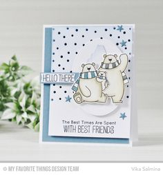 Polar Bear Pals Stamp Set and Die-namics, Icebergs Die-namics, Snowfall - Horizontal Die-namics, Pierced Oval STAX Die-namics, Tag Builder Blueprints 6 Die-namics - Vika Salmina #mftstamps
