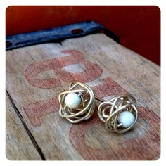 Sterling Silver Knot Post Earrings with Howlite by jenjems on Etsy, $28.00