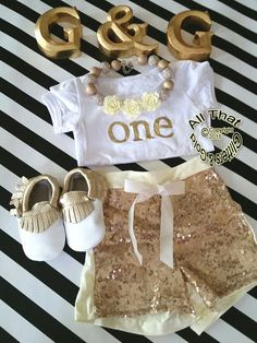 4490f88e848 Gold One Birthday Outfit Cute Gold One by GlittersandGoldShop