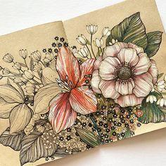 Botanical Line Drawing, Floral Drawing, Botanical Art, Flower Pens, Flower Art, Pen Art, Marker Art, Stippling Art, Abstract Line Art