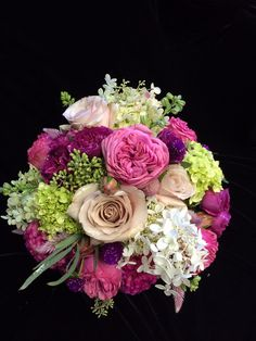 Fuscia and green bridal bouquet! Weddings by The Pod Shop in New Hope, PA | by podshopflowers