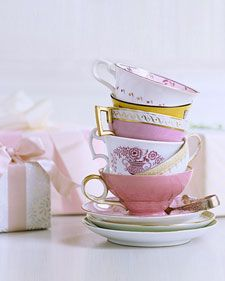 a bridal shower tea party is brilliant! have all the guests bring a vintage tea cup and saucer. Have A Nice Afternoon, Afternoon Tea, Afternoon Delight, Tea Party Bridal Shower, Bridal Showers, Tea Party Wedding, Wedding Table, Dream Wedding, Martha Stewart Weddings