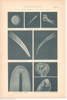1880 Antique Victorian Print Astronomy Comets Halley 1835 Biela Great Comet 1811