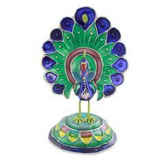 Meenakari Enamel on Sterling Silver Figurine - Lucknow Peacock | NOVICA