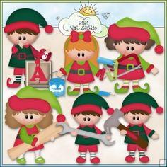 Christmas Village: Santa's Workshop Elves 1 - NE KWD Clip Art