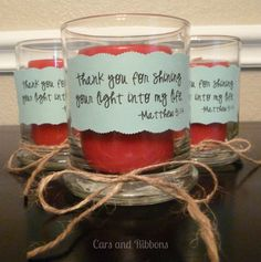 With or without the bible verse name and number depending on how religious they are! Cute idea tho.... simple, and a nice message.