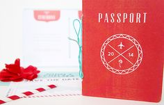 Red Aqua Passport Destination Wedding Invitations Two if by Sea Studios2 Chelsea + Johns Colorful Passport Wedding Invitations