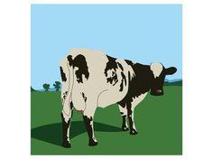 Reproduction en Flat Design de la pochette de l'album Atom Hearth Mother des Pink Floyd #celine #romeuf #design #album #pink #floyd #cow #vache