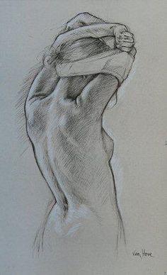 """Étude pour """"Suite à trois"""", 3/4 dos 2007 Pierre noire avec rehauts de pastel blanc sur papier 82 x 51 cm Galerie Alain Blondel +"""