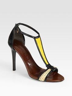 Raffia and Leather Colorblock T-Strap Sandals by burberry #Sandal #Colorblock #burberry