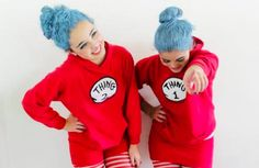 Let's be real; Thing 1 and Thing 2 have been done to death, but these two BFFs make it feel new. If you are going to go this route, commit to the look completely! I love how these girls spray-painted their hair to give their costumes an authentic look.