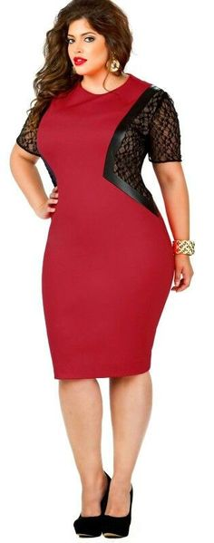 Curvy Woman Red and Black Dress and Black High Heels