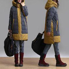 Fashion Casual Long stitching down jacket / coat warm winter fashion Overcoat  dreamyil on Etsy