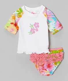 0fff6566000 Coral  amp  Reef White Pastel Beach Princess Rashguard Set - Infant by  Coral  amp