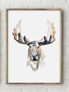 Hey, I found this really awesome Etsy listing at https://www.etsy.com/listing/195840513/moose-watercolor-painting-giclee-art