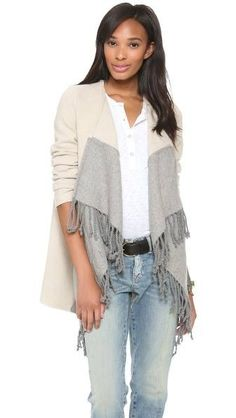 Love this new sweater wrap. Look at the fun fringe
