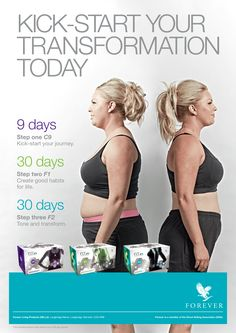 """So you've decided """"it's time to transform"""". Good for you Your ideal goal may seem unreachable, luckily Forever are here with C9, F1, and F2. You'll get the FULL low-down on how to attain your goals with daily meal plans, supplements and workout advice. Let's get #FIT today! #ChallengeYourself http://link.flp.social/YxySbD"""