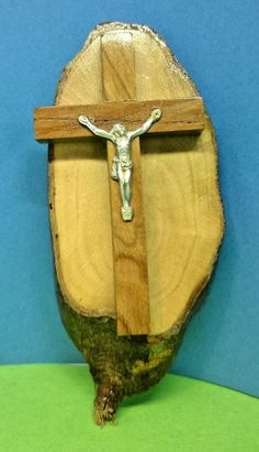 Simple Wood Crucifix on Olive Wood with Jerusalem stamp on back Found in France