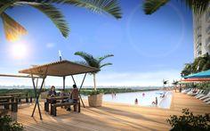 Malecon Americas, departamentos que estan en venta y en renta en Cancun, amenidades, alberca, con vista a la zona hotelera y al mar caribe.