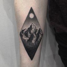 Amazing geometric mountain tattoo by @dsarok