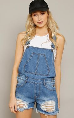 AMERICAN BAZI Distressed Denim Overall Shorts - Dresses - Shop
