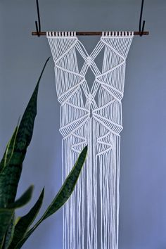 Macrame Wall Hanging - Natural White Cotton Rope on Wooden Dowel - MADE TO ORDER