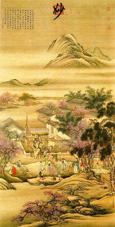 Leng_Mei_-_Figures_-_Spring_Evening_Banquet.jpg | Spring Evening Banquet at the Peach and Pear Blossom Garden with quoted text by Li Bai, painted by Leng Mei, late 17th/early 18th cent. National Palace Museum, Taipei