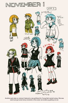 Character designs of Lainey (cut from series) for Scott Pilgrim Vol. 5 by Bryan Lee O'Malley Scott Pilgrim Comic, Bryan Lee O Malley, Brian Lee, Arrow Tv Shows, Comic Art, Comic Books, Ramona Flowers, Drawing Female Body, Punk