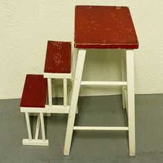 Vintage Kitchen Stool - Step Stool - Stool - Chair - Fold-out Steps - Pull-out…