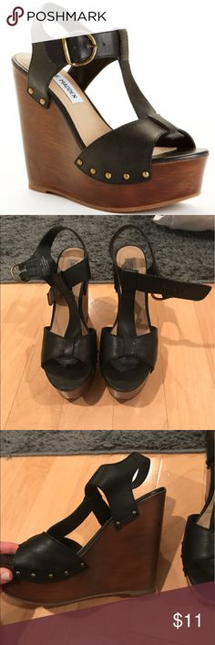 Steve Madden Wyliee wedges Super cute and great condition, lots of love left, no major scratches or noticeable damage, just normal wear and tear of wearing a few times, so comfortable Steve Madden Shoes Wedges