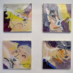 For Sale on - Built as a mosaic, these nine paintings are showing nine dancer's faces. They could be organized in many different ways of hanging. Two by two in a vertical The Spectator, Expressionism, Oil Painting On Canvas, Mosaic, Dancer, Wall Decor, Paintings, Art, Wall Hanging Decor