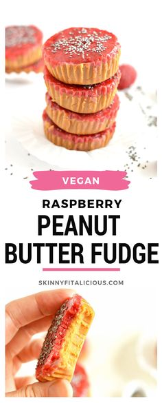 With just 3-ingredients this no-bake, quick and easy Raspberry Peanut Butter Fudge will be your new healthy dessert! Store in the freezer for an insanely delicious gluten free, Vegan anytime treat with a Paleo option too. #freezerfudge #vegandessert #lowcaloriedessert #peanutbutterfudge #skinnyfitalicious