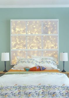 String Lights In The Bedroom- headboard made from string lights behind soe kind of fabric ?