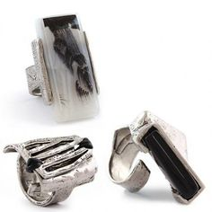 Gorgeous pewter statement rings from Anne Marie Chagnon. Top left and right are available in store right now at @The Hidden Jewel