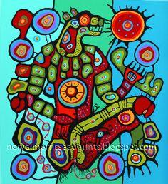 Bear by Norval Morrisseau Native Canadian, Canadian Artists, Native American Fashion, Native American Art, Woodland Art, Haida Art, Les Religions, Famous Art, Indigenous Art