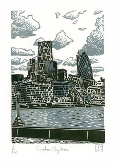 A hand-pressed linocut print entitled 'London City View'. This is a view of the city of London from the banks of the River Thames, just by Tower Bridge. I originally created this print whilst taking part in a certain TV art competition program. Linocut Prints, Poster Prints, Lino Art, London Drawing, A Level Art Sketchbook, London Landmarks, Call Art, Art Competitions, Urban Landscape
