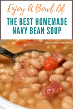 The Best Ham and Navy Bean Soup ~ Gluten free, low fat & rich in fiber. It took years but we did it! - The best ham and navy bean soup. Gluten free, low fat and rich in fiber. This homemade dinner can be made in the slow cooker or on the stove top. Best Ham And Beans Recipe, Navy Beans And Ham, Cooker Recipes, Crockpot Recipes, Ham Bone Recipes, Sopa Crock Pot, Bean Soup Recipes, Navy Bean Recipes, Chili Recipes
