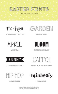 Spring/Easter Inspired Fonts. BONUS, they're ALL free!   like-the-cheese.com #fonts #easter #spring