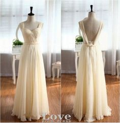 A line Sweetheart Champagne Backless Prom Dress by LovePromDress, $168.00. @Kristen - Storefront Life Dutton