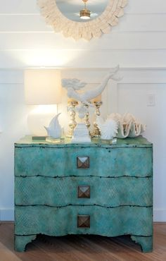 Mermaid weathervane figurine. Shop the Look: http://www.completely-coastal.com/2017/03/beach-house-in-white-turquoise-coral.html