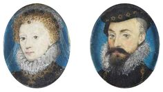 c.1575.Elizabeth and her favourite, Robert Dudley,Earl of Leicester,Pair of stamp-sized miniatures by Nicholas Hilliard.The Queen's friendship with Dudley lasted for over thirty years,until his death.
