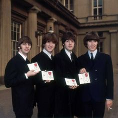 "Today 9-26 in 1965, The Beatles received their MBEs (""Order of the British Empire"") from Queen Elizabeth II."