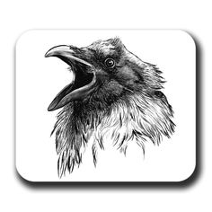 Crow Drawings | Raven Face Cawing Bird Crow Art Mouse Pad by artbyljgrove on Etsy